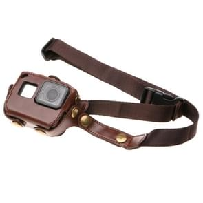 For GoPro  NEW HERO /HERO6   /5 PU Leather Housing Case with Neck Strap & Buttons(Brown)