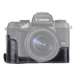 1/4 inch draad PU leder Camera Half Case Base voor Canon EOS M5(Black)