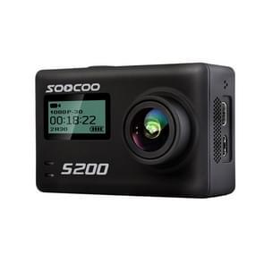 SOOCOO S200 Handphone APP Ultra HD 4K WiFi actiecamera 2 45 inch + 0 96 inch Dual Touch scherm 170 graden breed hoek steun TF Card(Max 64GB) & GPS & Mic & Voice controle & extern Control(Black)