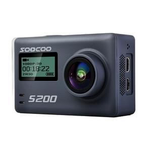 SOOCOO S200 Handphone APP Ultra HD 4K WiFi actiecamera 2 45 inch + 0 96 inch Dual Touch scherm 170 graden breed hoek steun TF Card(Max 64GB) & GPS & Mic & Voice controle & extern Control(Grey)