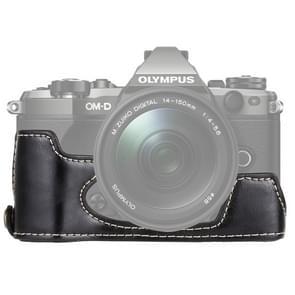 1/4 inch draad PU leder Camera Half Case Base voor Olympus EM5 / EM5 Mark II (zwart)