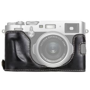 1/4 inch draad PU leder Camera Half Case Base voor FUJIFILM X100F (zwart)
