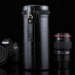 Extra grote Lens hoes met rits PU leder Pouch vak voor DSLR cameralens  maat: 24.5*10.5*10.5cm(Black)
