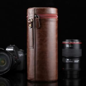 Extra grote Lens hoes met rits PU leder Pouch vak voor DSLR cameralens  maat: 24.5*10.5*10.5cm(Coffee)