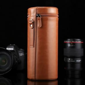 Extra grote Lens hoes met rits PU leder Pouch vak voor DSLR cameralens  maat: 24.5*10.5*10.5cm(Brown)
