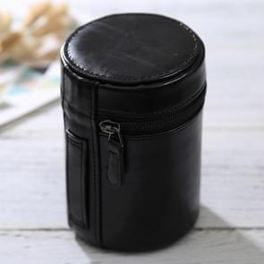 Medium Lens Case Zippered PU Leather Pouch Box for DSLR Camera Lens  Size: 13*9*9cm(Black)