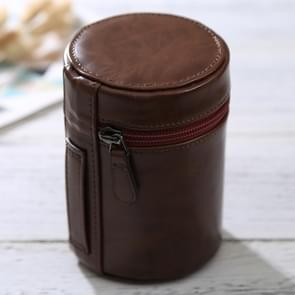 Medium Lens Case Zippered PU Leather Pouch Box for DSLR Camera Lens  Size: 13*9*9cm(Coffee)