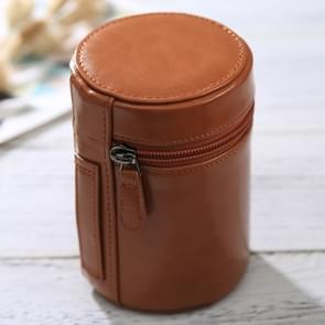 Medium Lens Case Zippered PU Leather Pouch Box for DSLR Camera Lens  Size: 13x9x9cm(Brown)