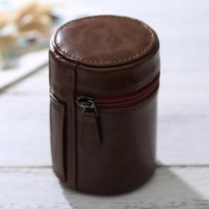 Small Lens Case Zippered PU Leather Pouch Box for DSLR Camera Lens  Size: 11*8*8cm(Coffee)
