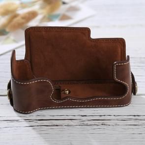 1/4 inch Thread PU Leather Camera Half Case Base for FUJIFILM X-E3(Coffee)