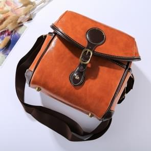 Portable Digital Camera Shoulder Bag Soft PU Leather Bag with Strap  Size: 21cm x 15cm x 20cm (Brown)