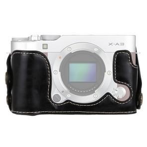 1/4 inch draad PU leder Camera Half Case Base voor FUJIFILM X-A3 / X-A10(Black)
