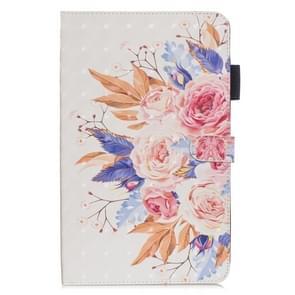 3D horizontale Flip lederen draagtas met houder & kaartsleuven voor nieuwe iPad (iPad 3) (zon bloem)