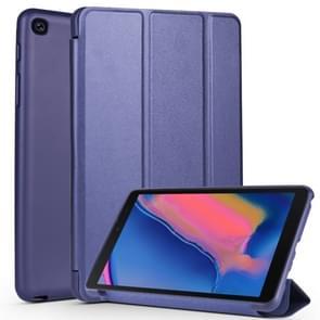 Koeienhuid textuur horizontale Flip lederen case voor Galaxy tab A8 (2019) P200/P205  met houder (donkerblauw)
