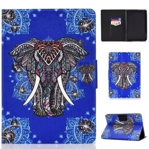 Colored Drawing Universal Voltage Craft Cloth TPU Protective Case  with Holder & Sleep / Wake-up Function & Card Slots & Anti-slip Strip for Amazon Kindle Paperwhite 1 / 2 / 3 / 4 (2018)(Elephant)
