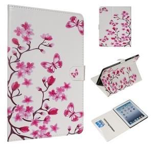 Voor iPad 4/3/2 gekleurde tekening patroon horizontale Flip PU lederen draagtas met houder & kaartsleuven (Butterfly Love Flower)