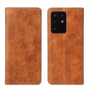Voor Samsung Galaxy S20 Fierre Shann Retro Tree Bark Texture PU Magnetic Horizontal Flip Leather Case met Holder & Card Slots & Wallet(Brown)