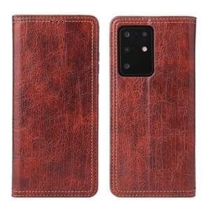 Voor Samsung Galaxy S20 Fierre Shann Retro Tree Bark Texture PU Magnetic Horizontal Flip Leather Case met Holder & Card Slots & Wallet(Red)