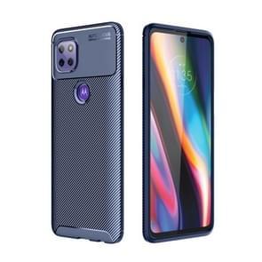 Voor Motorola Moto G 5G Carbon Fiber Textuur Schokbestendige TPU Case (Blauw)
