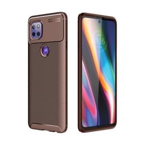 Voor Motorola Moto G 5G Carbon Fiber Textuur Schokbestendige TPU Case (Bruin)