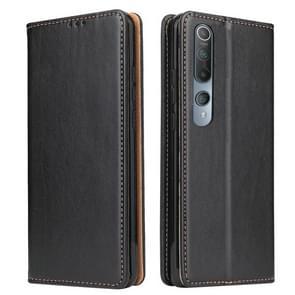 Voor Xiaomi Mi 10 Fierre Shann PU Genuine Leather Texture Horizontale Flip Lederen Case met Holder & Card Slots & Wallet(Zwart)