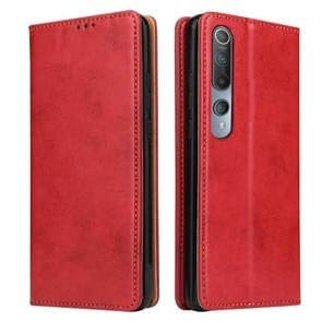 Voor Xiaomi Mi 10 Fierre Shann PU Genuine Leather Texture Horizontale Flip Lederen Case met Holder & Card Slots & Wallet(Red)
