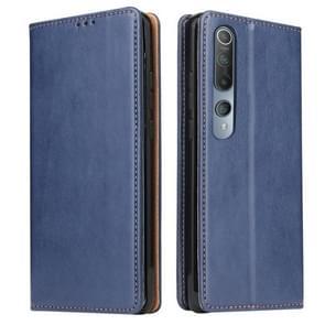 Voor Xiaomi Mi 10 Fierre Shann PU Genuine Leather Texture Horizontale Flip Lederen Case met Holder & Card Slots & Wallet(Blauw)