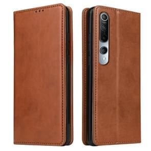 Voor Xiaomi Mi 10 Fierre Shann PU Genuine Leather Texture Horizontale Flip Lederen Case met Holder & Card Slots & Wallet(Bruin)