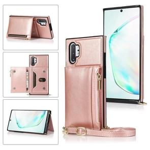 Voor Samsung Galaxy Note10 Pro Square Zipper Wallet Bag TPU+PU Back Cover Case met Holder & Card Slots & Wallet & Cross-body Strap (Rose Glod)