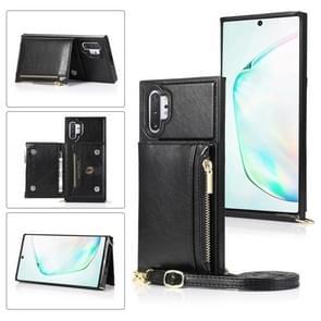 Voor Samsung Galaxy Note10 Pro Square Zipper Wallet Bag TPU+PU Back Cover Case met Holder & Card Slots & Wallet & Cross-body Strap(Zwart)