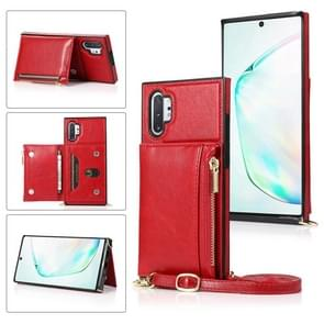 Voor Samsung Galaxy Note10 Pro Square Zipper Wallet Bag TPU+PU Back Cover Case met Holder & Card Slots & Wallet & Cross-body Strap(Rood)