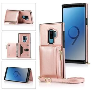 Voor Samsung Galaxy S9 Square Zipper Wallet Bag TPU+PU Back Cover Case met Holder & Card Slots & Wallet & Cross-body Strap (Rose Glod)