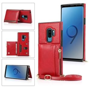 Voor Samsung Galaxy S9 Square Zipper Wallet Bag TPU+PU Back Cover Case met Holder & Card Slots & Wallet & Cross-body Strap(Red)