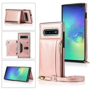 Voor Samsung Galaxy S10 Plus Square Zipper Wallet Bag TPU+PU Back Cover Case met Holder & Card Slots & Wallet & Cross-body Strap (Rose Glod)