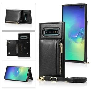 Voor Samsung Galaxy S10 Plus Square Zipper Wallet Bag TPU+PU Back Cover Case met Holder & Card Slots & Wallet & Cross-body Strap(Zwart)
