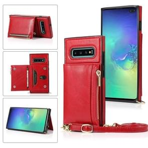 Voor Samsung Galaxy S10 Plus Square Zipper Wallet Bag TPU+PU Back Cover Case met Holder & Card Slots & Wallet & Cross-body Strap(Rood)