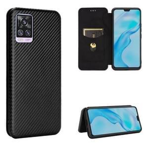 Voor de Vivo V20 Pro 5G Carbon Fiber Texture Magnetic Horizontal Flip TPU + PC + PU Leather Case met kaartsleuf(zwart)