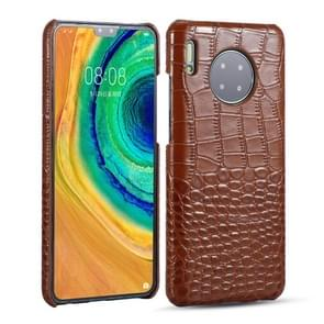 Voor Huawei Mate 30 Head-layer Cowhide Leather Crocodile Texture Protective Case (Bruin)
