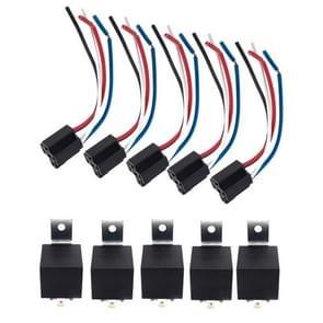 5 paar 12V autorelais met pruimvormige waterdichte vlamvertragende socket