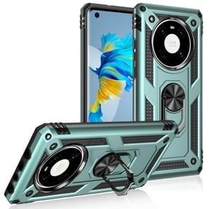 Voor Huawei Mate 40 Schokbestendige TPU + PC Beschermhoes met 360 Graden Roterende Houder (Donkergroen)