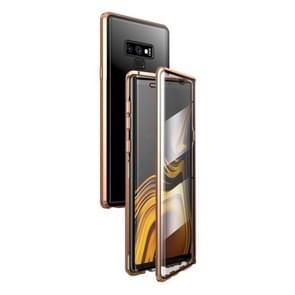 Voor Samsung Galaxy Note9 Magnetic Metal Frame Dubbelzijdige Tempered Glass Case (Goud)