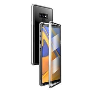 Voor Samsung Galaxy Note9 Magnetic Metal Frame Dubbelzijdige Tempered Glass Case (Zilver)
