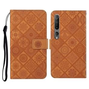 Voor Xiaomi Mi 10 5G Ethnic Style Embossed Pattern Horizontale Flip Leather Case met Holder & Card Slots & Wallet & Lanyard(Brown)