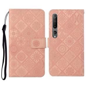 Voor Xiaomi Mi 10 5G Ethnic Style Embossed Pattern Horizontale Flip Lederen Case met Holder & Card Slots & Wallet & Lanyard(Pink)