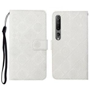 Voor Xiaomi Mi 10 5G Ethnic Style Embossed Pattern Horizontale Flip Lederen Case met Holder & Card Slots & Wallet & Lanyard(Wit)