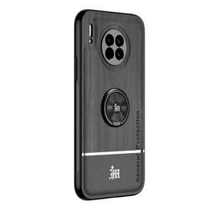 Voor Huawei Mate 30 Wood Grain PC + TPU Shockproof Case met ringhouder(Zwart)