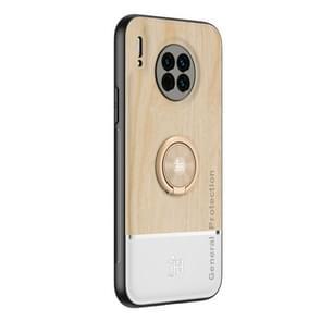 Voor Huawei Mate 30 Wood Grain PC + TPU Schokbestendige behuizing met ringhouder(houtkleur)