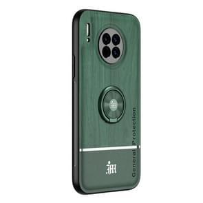 Voor Huawei Mate 30 Wood Grain PC + TPU Shockproof Case met ringhouder(groen)