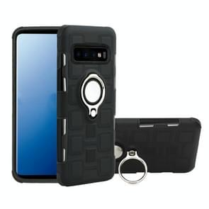 Voor Galaxy S10+ 2 In 1 Cube PC + TPU beschermhoes met 360 graden draai zilveren ringhouder(zwart)