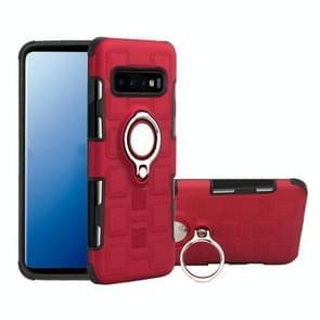 Voor Galaxy S10+ 2 In 1 Cube PC + TPU beschermhoes met 360 graden draai zilveren ringhouder(rood)